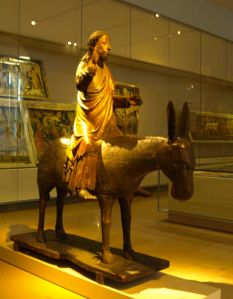 A wooden sculpture of Jesus Christ on a donkey (c. 1378), Germanisches Nationalmuseum in Nuremberg, Germany.